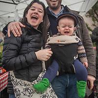 Erin and Massimo Di Costanzo and their son, Luciano, at the Saturday Market in Calistoga  massimo@mdcwines.com