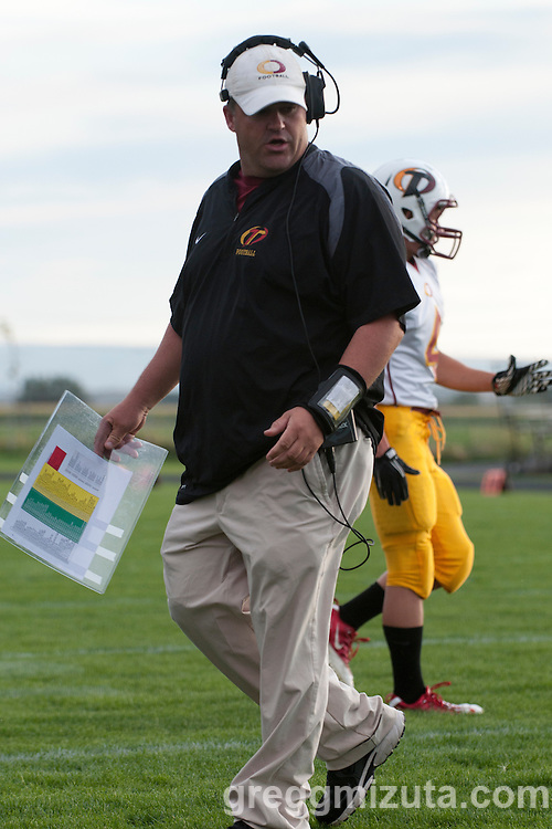 Ontario coach Randy Waite during the Vale vs Ontario game at Frank Hawley Stadium in Vale, OR on September 16, 2011.