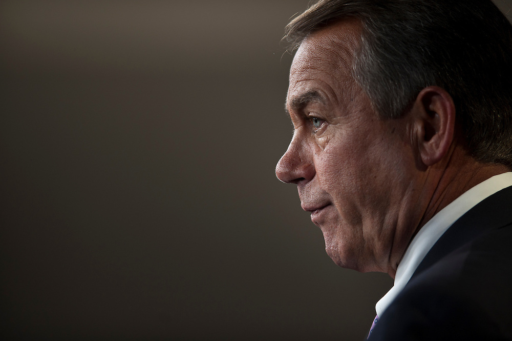 House Speaker JOHN BOEHNER (R-OH) during a news conference to discuss the Balanced Budget Amendment, which will be considered on the floor next week.