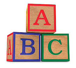 Wooden ABC alphabet blocks stacked on a white background