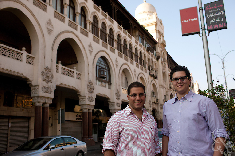 "Division Publishing co-founders Marwan Imam (r) and Mohamed Reda pose for a portrait August 30, 2011 in Cairo, Egypt. The two 24 year old Cairo residents have launched a bimonthly graphic novel series called ""Autostrade"" and hope their Division Publishing company will become a launching pad for other graphic novels. (Photo by Scott Nelson for the National)"