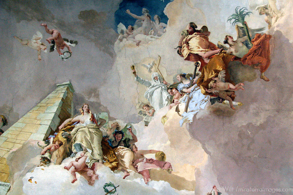 Europe, Spain, Madrid. Fresco at Palacio Real.