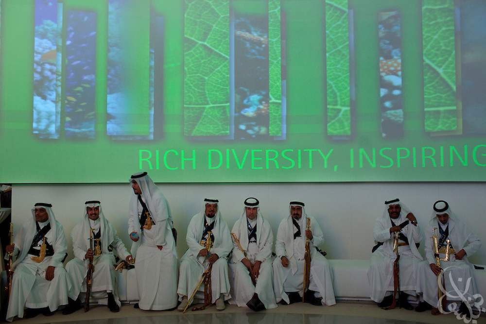 The King's Ceremonial Guard is seen in front of a multimedia projection wall during the King Abdullah University of Science and Technology (KAUST) Inauguration Ceremony September 23, 2009 in Thuwal, Saudi Arabia (about 80 Kilometers north of Jeddah.) The University will act as a living laboratory by demonstrating that environmentally responsible methods of energy use, materials management, and water consumption are viable in the Middle East and across the globe. (Photo by Scott Nelson).