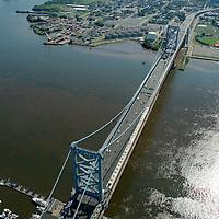 Aerial photograph ofBen Franklin Bridge into Camden NJ