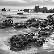 Receding Tide Corona Del Mar Tide Pools - Sunset - Black & White