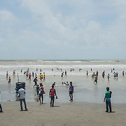 The crowded beach of Cox's Bazar, Bangladesh on a busy and sunny Saturday morning