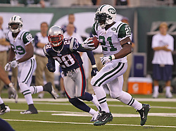 Sept 19, 2011; East Rutherford, NJ, USA; New York Jets running back LaDainian Tomlinson (21) runs with the ball during the 2nd half at the New Meadowlands Stadium.  The New York Jets defeated the New England Patriots 28-14.