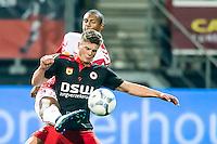 ROTTERDAM - SBV Excelsior - FC Utrecht , Voetbal , Eredivisie, Seizoen 2015/2016 , Stadion Woudestein , 03-10-2015 , Excelsior speler Bas Kuipers (r) in duel met FC Utrecht speler Sébastien Haller (l)