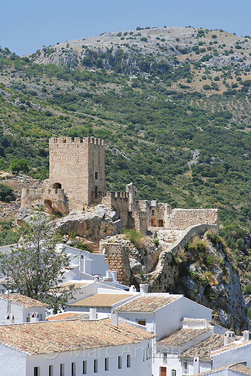 Old moorish castle on a hill, overlooking Zuheros, a Spanish White Village in Andalucia, Spain.