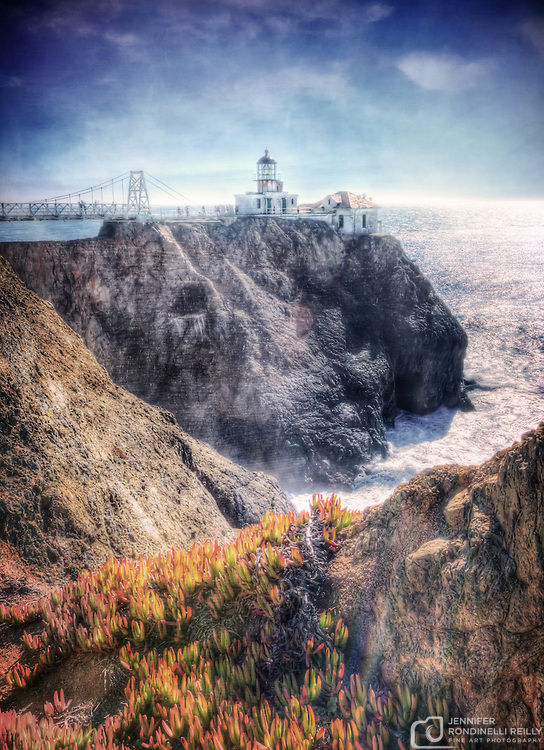 Photo of Point Bonita Lighthouse in the Marin Headlands on San Francisco Bay in California. This lighthouse is still active and maintained by the United States Coast Guard. It is the only lighthouse in America that can only be reached by suspension bridge. Photo by Jennifer Rondinelli Reilly.