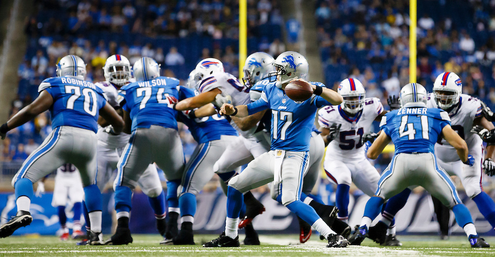 Detroit Lions quarterback Kellen Moore (17) passes against the Buffalo Bills during an preseason NFL football game at Ford Field in Detroit, Thursday, Sept. 3, 2015. (AP Photo/Rick Osentoski)