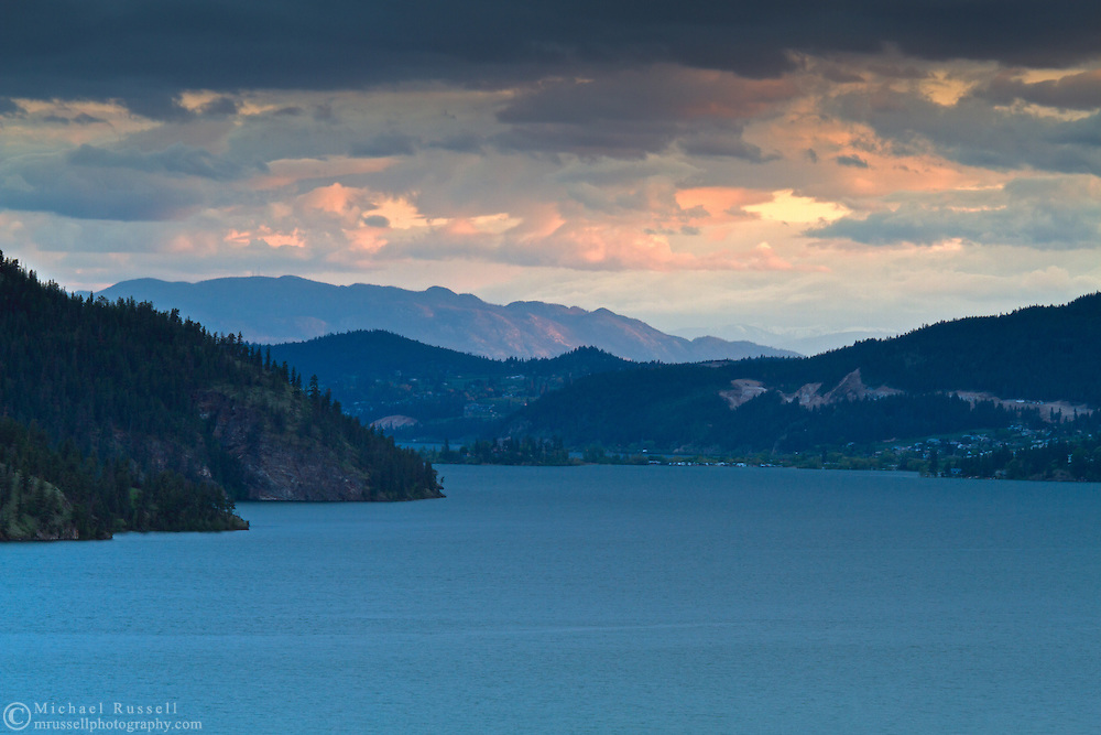 Sunset after a brief storm over Kalamalka Lake in Vernon, British Columbia, Canada