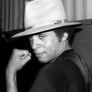 Garland Jeffreys poses backstage at his concert in August 1977. The concert took place in Central Park as part of the Dr. Pepper Music Festival at the Wollman Skating Rink.