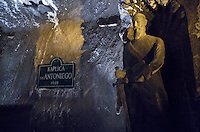 Wieliczka Salt Mine, Poland. The 17th century Baroque Saint Anthony's Chapel is the oldest fully preserved chapel in the Wieliczka Mine. In the main altar the statues of the crucified Christ, Madonna with Child and Saint Anthony are to be seen.