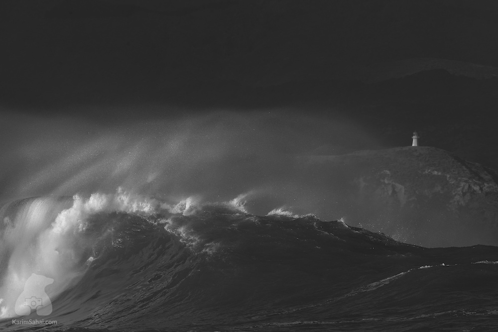 Powerful wave near Pencarrow lighthouse, Wellington, New Zealand.