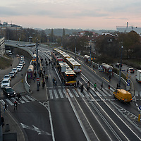 Morning commuters making their way to work on a Thursday morning in Warsaw, Poland.