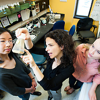 Assistant Professor of Biology Avital Rodal with students in lab at Brandeis University in Waltham, MA.