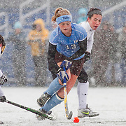 11/07/2012 - Medford, Mass. - Tufts midfielder Emily Cannon, A14, dodges a defender in Tufts' 8-0 win over Castleton in the first round of the NCAA Championships at Bello Field on Nov. 7, 2012. (Kelvin Ma/Tufts University)