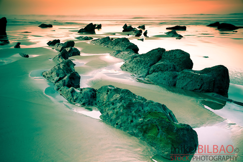 Coastline at sunset.<br /> Barrika beach. Biscay, Basque Country, Spain.