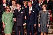 8-12-2016 Luxembourg - Jean, Grand Duke of Luxembourg , Henri, Grand Duke of Luxembourg , Maria Teresa, Grand Duchess of Luxembourg , Prince F&eacute;lix of Luxembourg and Princess Claire in the royals palace . The Luxembourg royal decree Thursday with a sound and light show of the year-long celebration of the 125th anniversary of the Luxembourg dynasty Nassau. On the facade of the Grand Ducal Palace photos and images projected that tell the history of the Luxembourg monarchy. COPYRIGHT ROBIN UTRECHT<br /> Grand Duke Henri, Grand Duchess Maria Teresa, Grand Duke Jean, Hereditary Grand Duke Guillaume and Hereditary Grand Duchess St&eacute;phanie as well as members of the Grand Ducal Family were announced to mark the 125th anniversary of the Luxembourg-Nassau Dynasty with a family photo and a light show today - and well, a right grand ducal celebration with loads and loads of family members First row, from left: <br /> Hereditary Grand Duke Guillaume, Grand Duchess Maria Teresa, Grand Duke Jean, Grand Duke Henri, Hereditary Grand Duchess St&eacute;phanie<br /> Second row: <br /> Prince Guillaume, Princess Margaretha, Archduchess Marie-Astrid, Prince Jean<br /> Third row: <br /> Princess Sibilla, Prince Nikolaus of Liechtenstein, Archduke Carl-Christian, Countess Diane de Nassau<br /> Fourth row: <br /> Princess Eleonora of Ligne, Prince Michel de Ligne, Prince Robert of Luxembourg, Baroness Sophie de Potesta, Countess Monica of Holstein-Ledreborg<br /> Fifth row: <br /> Countess Silvia of Holstein-Ledreborg, Countess Lydia of Holstein-Ledreborg, Princess Anne of Ligne, Baron Jean-Louis de Potesta, Henrik de Jonqui&egrave;res.<br /> Sixth row: <br /> John Munro of Foulis, Countess Tatiana of Holstein-Ledreborg, Prince Wauthier of Ligne, Chevalier Charles de Fabribeckers de Cortils de Gr&acirc;ce, Princess Sophie de Ligne.<br /> Seventh row: <br /> Countess Antonia of Holstein-Ledreborg, Mark von Riedemann, Princess R&eacute;gine of Ligne, Prince Lamoral of Ligne, Princess Jacqueline of Ligne<br /> <br /> 8-12-2016 Luxemburg - groot hertog Jan van Luxemburg, Hendrik van Luxemburg, Maria Teresa, Gro