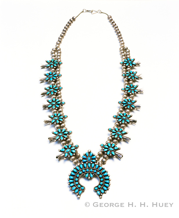 0196-1025C ~ Copyright: George H. H. Huey ~ Silver and Turquoise squash blossom necklace. Early Zuni Indian style. [1940's] Artist: unknown. New Mexico.