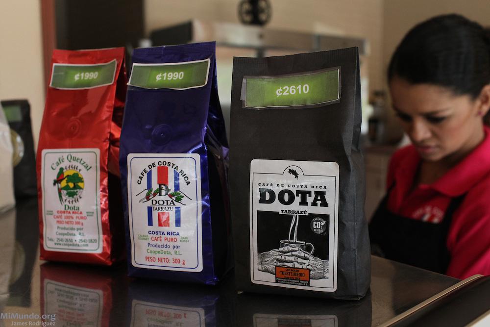 COOPEDOTA coffee brands displayed at the co-op's own coffee shop. COOPEDOTA, Santa María de Dota, San José, Costa Rica. September 7, 2012.