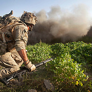 An attachment of Royal Engineers( EOD specialists) and  B (Malta) Company 1st Battalion The Mercian Regiment undertake a 16 hour foot patrol to clear IED's (improvised explosive devices) around their base. The mission, which is one of the most dangerous tasks undertaken by the troops involved isolating suspected IED sites by blowing through compound walls and creating a cordon whilst the suspect site is examined and the any devices found are neutralized. The patrol left the base under the cover of darkness and worked throughout the day in searing temperatures reaching 55 C occasionally exchanging fire with the enemy. At nightfall the patrol retuned to base.  Nahr-e Saraj, Helmand Province, Afghanistan, 20th of August 2010.