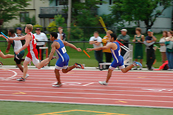 Indiana High School Athletic Association Track Regional,Lafayette, Indiana 4x100 exchange.