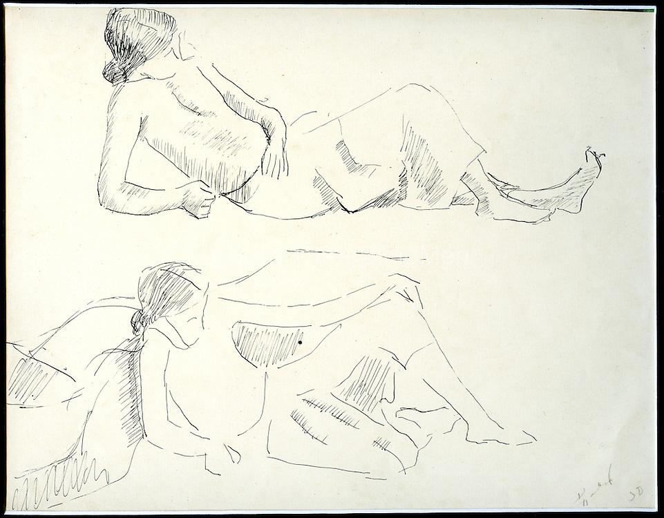 Richard Gabriel - Two Figures <br /> Line drawing<br /> size - 9.5&quot; x 7.5&quot;