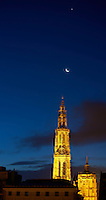Early Dawn Jupiter and Waning Crescent Moon Over the Antwerp Cathedral from the Deck of the M/V Explorer. Image taken with a Nikon D800 and 70-300 mm VR lens (ISO 100, 70 mm, f/5.6, 2 sec).