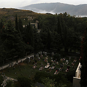 Graves stand in the cemetery of the town of Santo Stefano di Sessanio in the province of L'Aquila in Abruzzo.