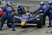 Alex Barron pits at the Kansas Speedway, Kansas Indy 300, July 3, 2005