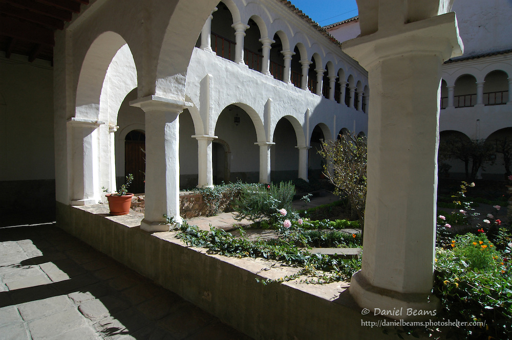 Inner courtyard of the Recoleta monastery in Sucre, Bolivia