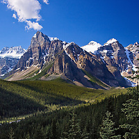 Mountain scene along Bow River Alberta, Canada
