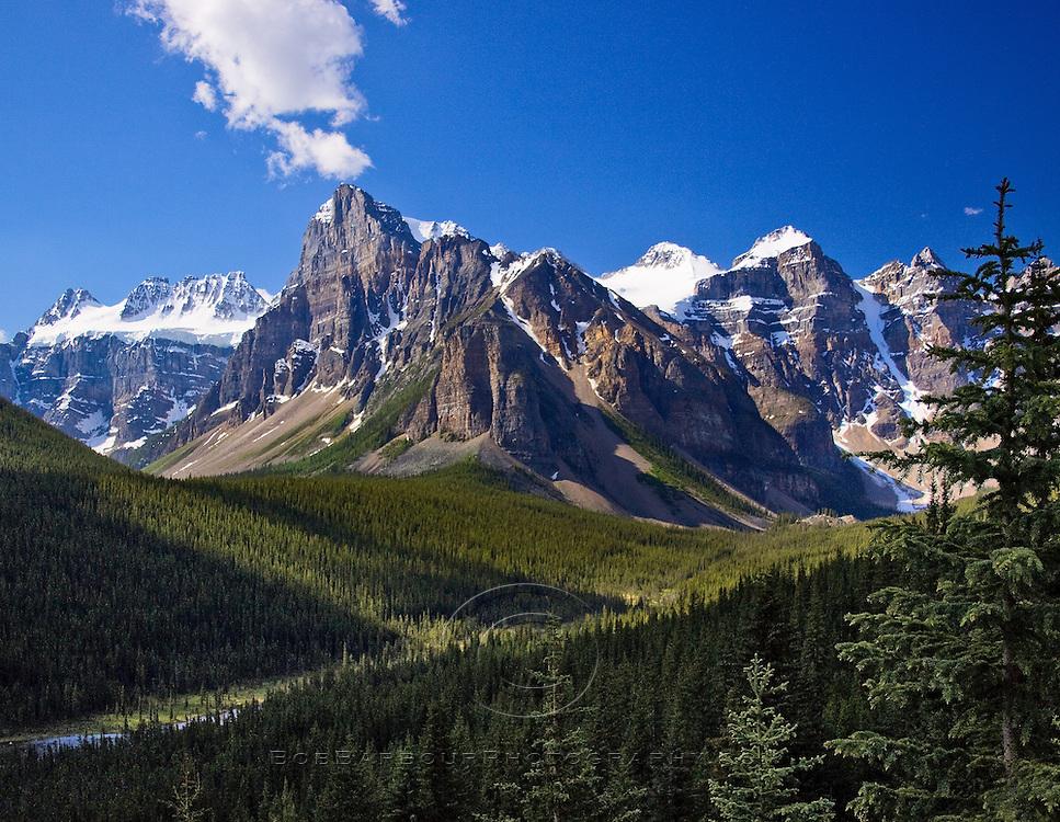 Mountain scene along Bow River Alberta, Canada