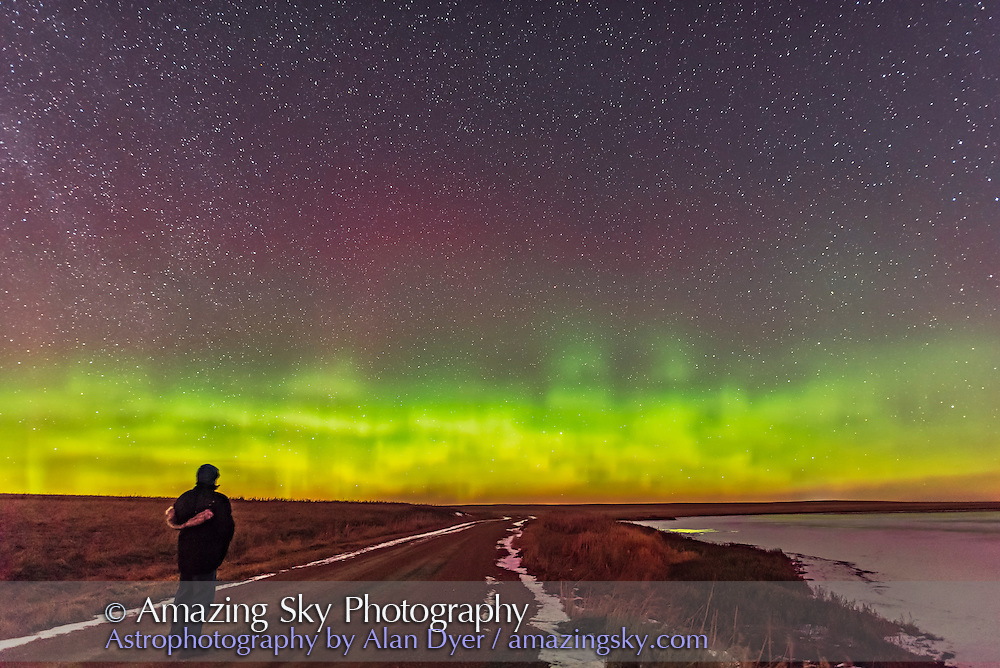 An aurora selfie during the display of March 2, 2017 near home in southern Alberta. This is a single 13-second exposure at f/2 with the Sigma Art lens and Nikon D750 at ISO 3200. The crescent Moon is providing some foreground illumination.