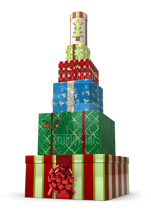 A stack of presents shaped like a Christmas tree