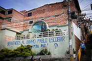 MEDELLIN COLOMBIA 2-8-2016 - The neighbourhood barrio escobar in medellin , the world famous druglord Pablo escobar gave 500 houses to the poor people in medellin  25 years ago , he died in 1993 and is still loved in the Pablo Escobar neighbourhood COPYRIGHT ROBIN UTRECHT<br /> MEDELLIN COLOMBIA 2016/02/08 - De wijk barrio Escobar in Medellin, de wereldberoemde drugsbaron Pablo Escobar gaf 500 woningen aan de arme mensen in Medellin 25 jaar geleden, hij stierf in 1993 en is nog steeds geliefd in de Pablo Escobar buurt COPYRIGHT ROBIN UTRECHT