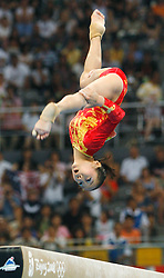 China's Deng Linlin competes on the balance beam for artistic gymnastics women's team during the Olympic games in Beijing, China, 13 August 2008. The Chinese won the gold medal for the event with the United States and Romania taking silver and bronze respectively.