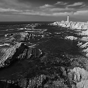 Point Arena Lighthouse And Rocky Shoreline - Infrared Black & White