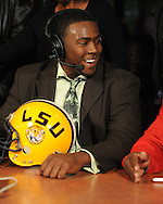 Lafayette High quarterback Jeremy Liggins announces he will attend LSU during the Collier Dental Sports Roundup at the Irie in Oxford, Miss. on Monday, January 30, 2012.