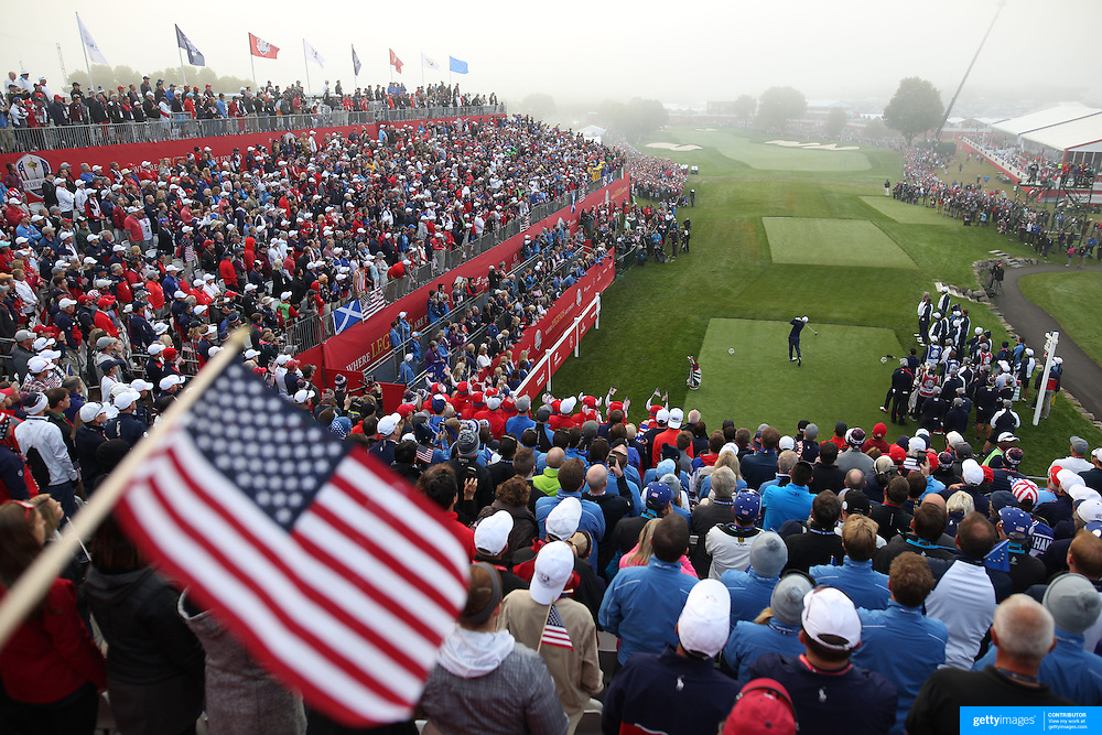 Ryder Cup 2016. Day One. Andy Sullivan of Europe tees off at the first hole in the Friday morning foursomes during the Ryder Cup competition at the Hazeltine National Golf Club on September 30, 2016 in Chaska, Minnesota.  (Photo by Tim Clayton/Corbis via Getty Images)