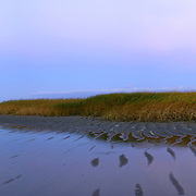 Full moon rise at sunset, Paine's Creek beach in Brewster.