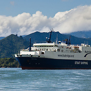Bluebridge Ferry transports cars & people through Queen Charlotte Sound, South Island, New Zealand
