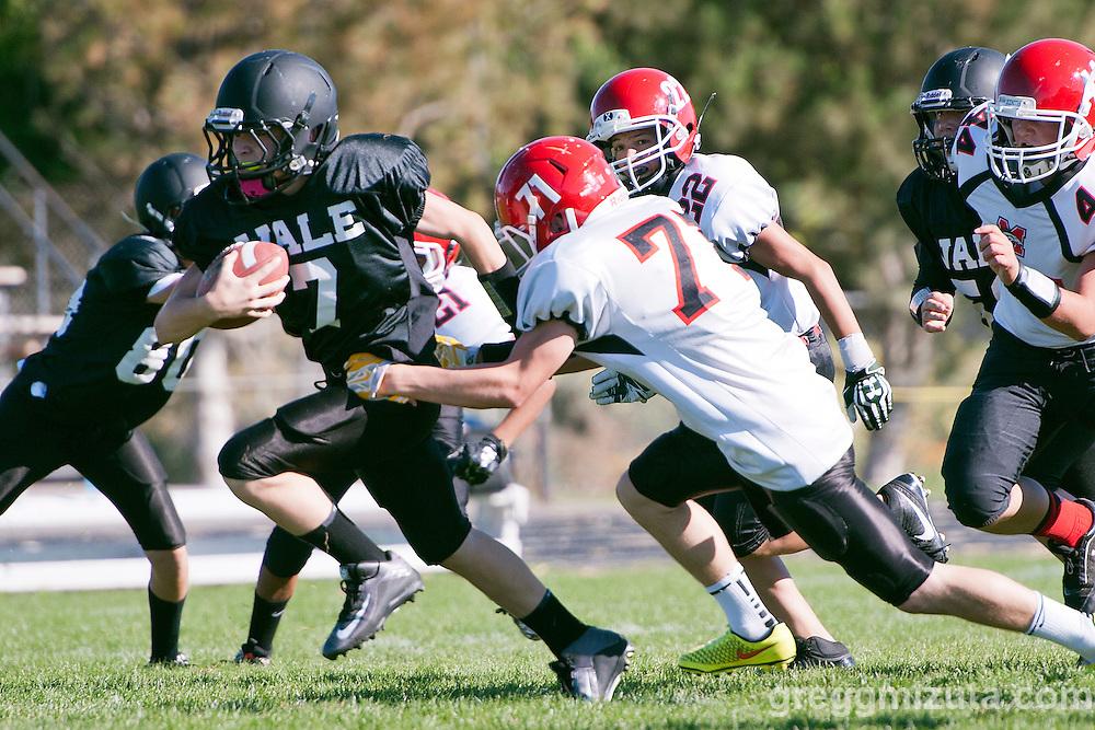 Colton Kesey. Vale Melba 8th grade football, September 22, 2015, Vale high School, Vale, Oregon.