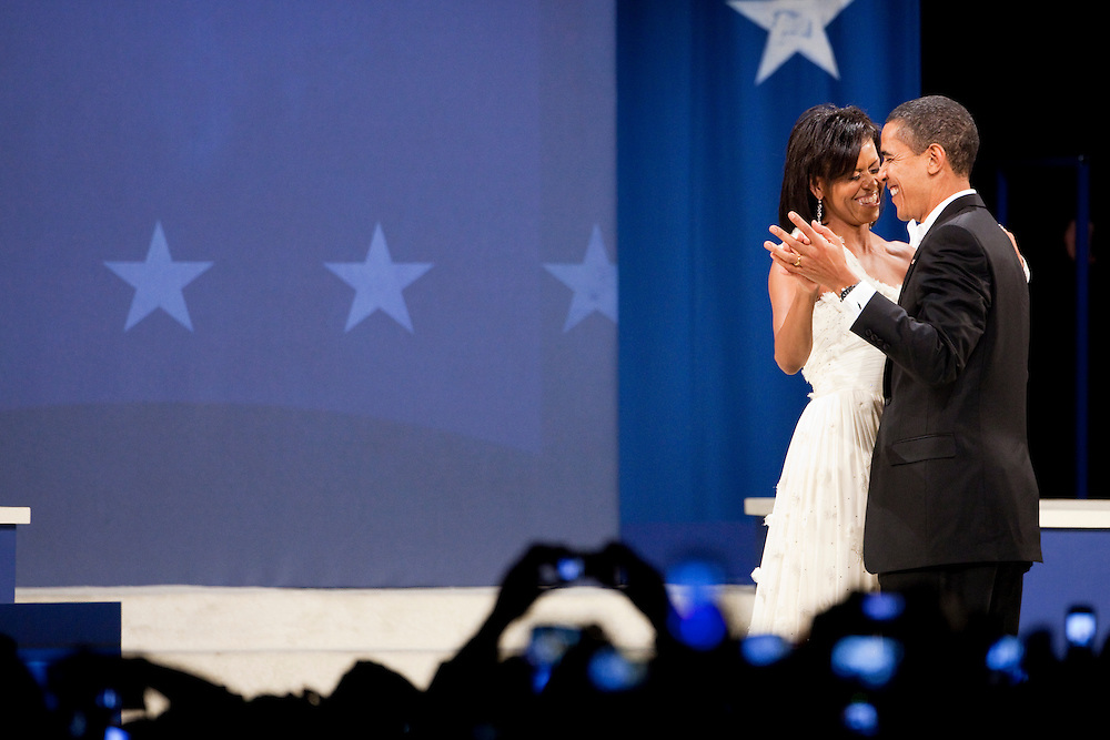 WASHINGTON - JANUARY 21: President Barack Obama and First Lady Michelle Obama dance at the Southern Inaugural Ball on January 21, 2009 in Washington, DC. Obama was sworn in as the 44th President of the United States, becoming the first African American to be elected President of the US. (Photo by Brendan Hoffman/Getty Images) *** Barack Obama;Michelle Obama