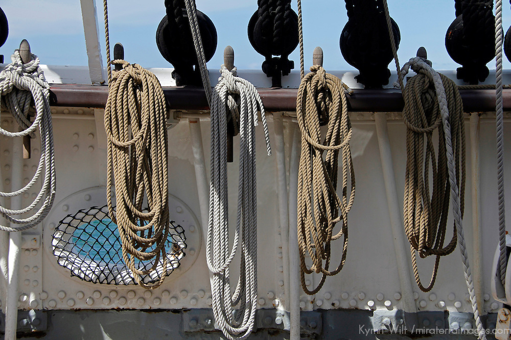 USA, California, San Diego. Ropes and Ties of the Star of India Sailing Ship, at the San Diego Maritime Museum.