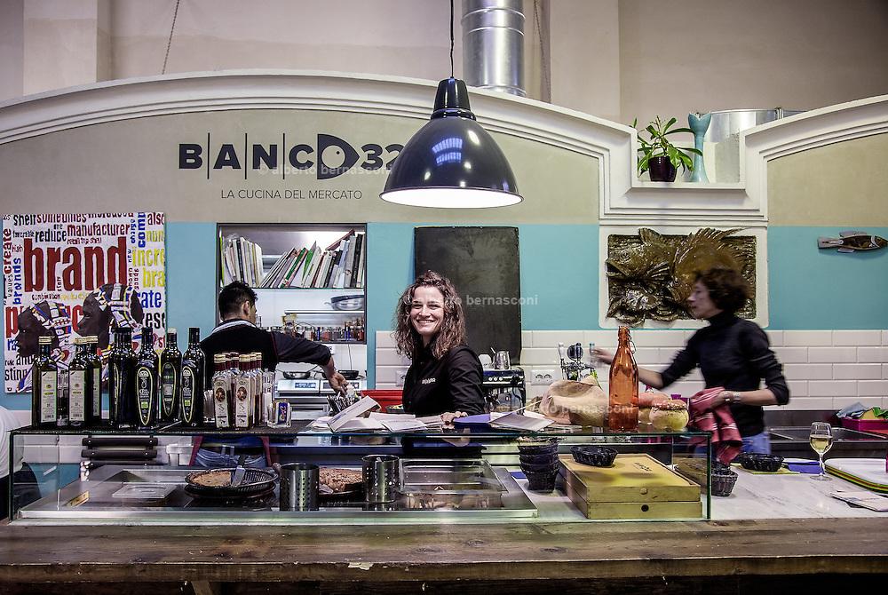 Bologna, Banco32 restaurant at the fish market, waitress Rebecca Mormile