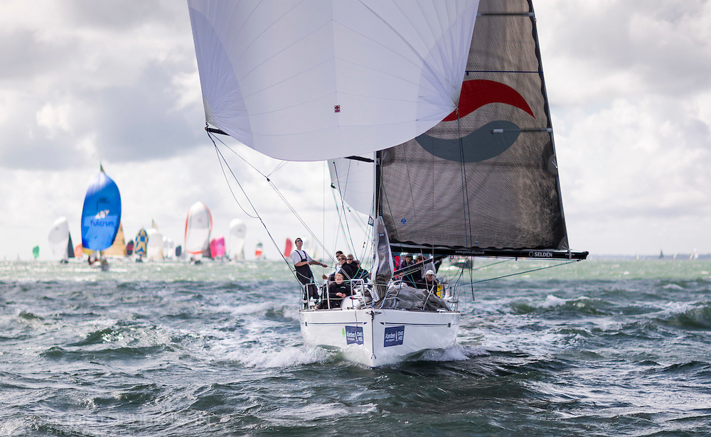 Premier Flair (GBR8410R) on her way to winning IRC class 2, on the opening day of Aberdeen Asset Management Cowes Week. The event began in in 1826 and plays a key part in the British sporting summer 'season'. It now stages up to 40 daily races for around 1,000 boats and is the largest sailing regatta of its kind in the world with 8,500 sailors competing.<br /> Picture date Saturday 2nd August, 2014.<br /> Picture by Christopher Ison. Contact +447544 044177 chris@christopherison.com
