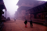 Morning mists in Patan's Durbar Square in the Kathmandu Valley.